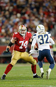 Joe Staley of the San Francisco 49ers blocks during the game against the San Diego Chargers at Levi Stadium on December 20 2014 in Santa Clara...