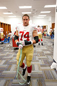 Joe Staley of the San Francisco 49ers stands in the locker room prior to the game against the St Louis Rams at the Edward Jones Dome on October 13...