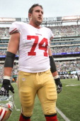 Joe Staley of the San Francisco 49ers stands on the field during the game against the New York Jets at Met Life Stadium on September 30 2012 in East...