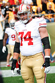 Joe Staley of the San Francisco 49ers stands on the field during the game against the Pittsburgh Steelers at Heinz Field on September 20 2015 in...