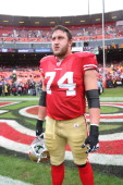Joe Staley of the San Francisco 49ers stands on the field prior to the game against the Arizona Cardinals at Candlestick Park on November 20 2011 in...