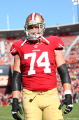 Joe Staley of the San Francisco 49ers stands on the field prior to the game against the Arizona Cardinals at Candlestick Park on December 30 2012 in...