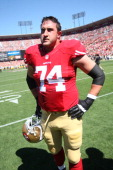 Joe Staley of the San Francisco 49ers stands on the field prior to the game against the Green Bay Packers at Candlestick Park on September 8 2013 in...
