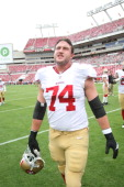 Joe Staley of the San Francisco 49ers stands on the field prior to the game against the Tampa Bay Buccaneers at Raymond James Stadium on December 15...