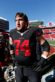 Joe Staley of the San Francisco 49ers stands on the field prior to the game against the Arizona Cardinals at Levi Stadium on November 29 2015 in...