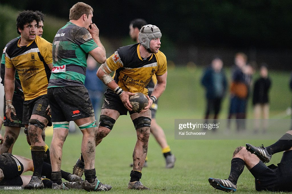 Joe Stewart of New Brighton reacts during the match between New Brighton RFC and Linwood RC on May 28, 2016 in Christchurch, New Zealand.