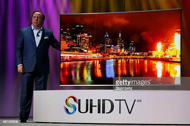 Joe Stinziano executive vice president of home entertainment for Samsung Electronics America Inc unveils the SUHD 4K television during the 2015...