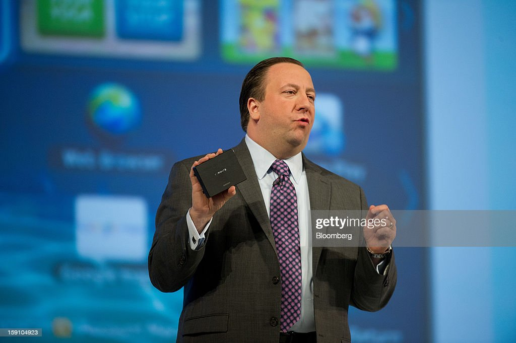 Joe Stinziano, executive vice president of Samsung Electronics America Inc., speaks during a news conference at the 2013 Consumer Electronic Show in Las Vegas, Nevada, U.S., on Monday, Jan. 7, 2013. The 2013 CES trade show, which runs until Jan. 11, is the world's largest annual innovation event that offers an array of entrepreneur focused exhibits, events and conference sessions for technology entrepreneurs. Photographer: David Paul Morris/Bloomberg via Getty Images