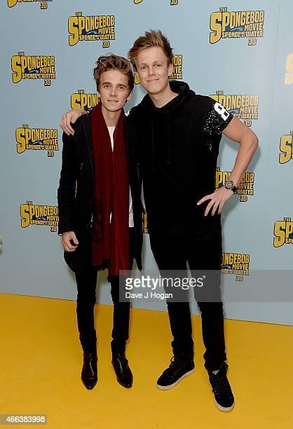 Joe Sugg and Caspar Lee attend 'The Spongebob Movie Sponge Out of Water' UK Gala screening on March 15 2015 in London England