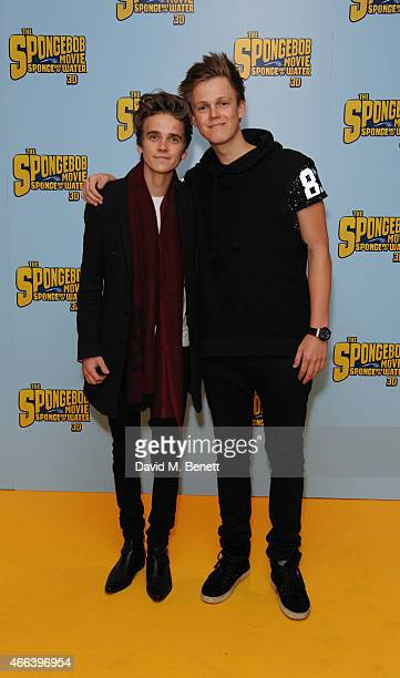 Joe Sugg and Caspar Lee attends a special Mother's Day screening of 'The SpongeBob Movie Sponge Out of Water 3D' at the Ham Yard Hotel on March 15...