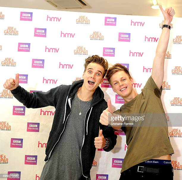 Joe Sugg and Caspar Lee meet fans to celebrate the release of their new DVD 'Joe Caspar Hit The Road' at HMV on December 1 2015 in Manchester United...