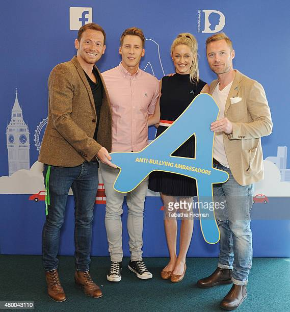 Joe Swash Dustin Lance Black Nicola Stapleton and Ronan Keating attend a photocall for the Diana Award Anti Bullying showcase at Facebook London...