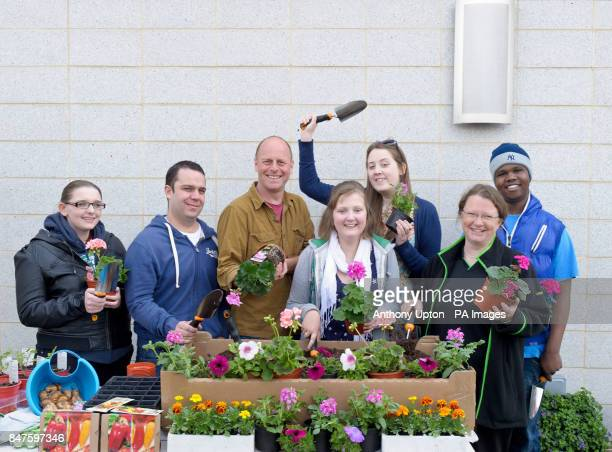 Joe Swift holds a gardening workshop at the Teenage Cancer Trust unit at the Oak Centre for Young People with Becky Toms from Chatham Kent Brad...