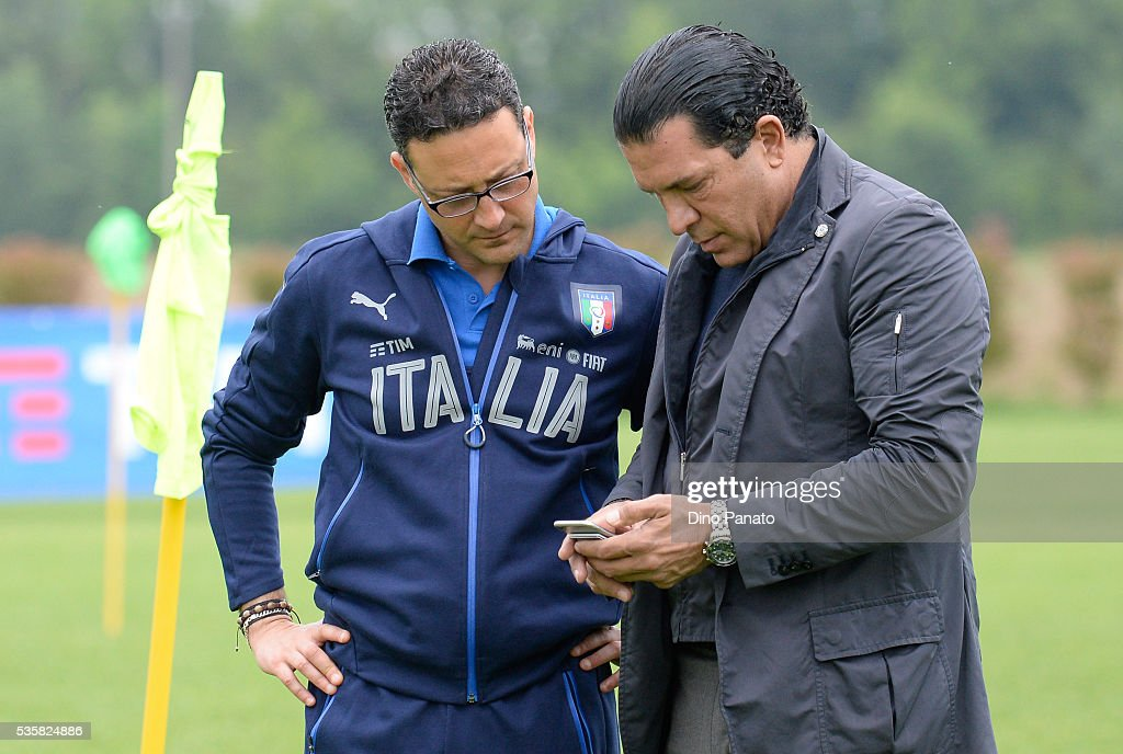 Joe Tacopina (R) president of Venezia Calcio during Training Session at stadio Comunale on May 30, 2016 in Mestre, Italy.