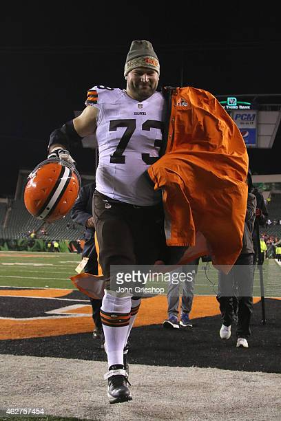 Joe Thomas of the Cleveland Browns celebrates a victory during the game against the Cincinnati Bengals at Paul Brown Stadium on November 6 2014 in...