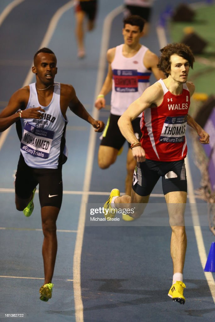 Joe Thomas (R) pips Mukhtar Mohammed (L) to the line to win the men's 800m final during day two of the British Athletics European Trials & UK Championship at the English Institute of Sport on February 10, 2013 in Sheffield, England.
