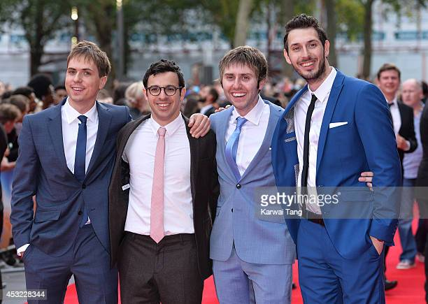 Joe Thomas Simon Bird James Buckley and Blake Harrison attend the World Premiere of 'The Inbetweeners 2' at Vue West End on August 5 2014 in London...