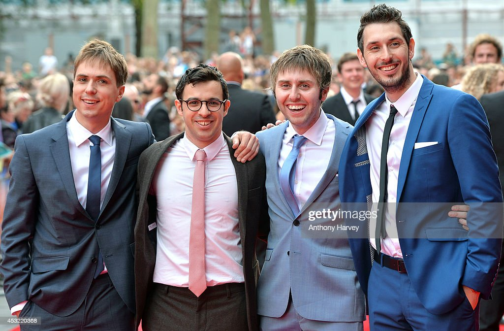Joe Thomas, Simon Bird, James Buckley and <a gi-track='captionPersonalityLinkClicked' href=/galleries/search?phrase=Blake+Harrison&family=editorial&specificpeople=5800049 ng-click='$event.stopPropagation()'>Blake Harrison</a> attens the World Premiere of 'The Inbetweeners 2' at Vue West End on August 5, 2014 in London, England.