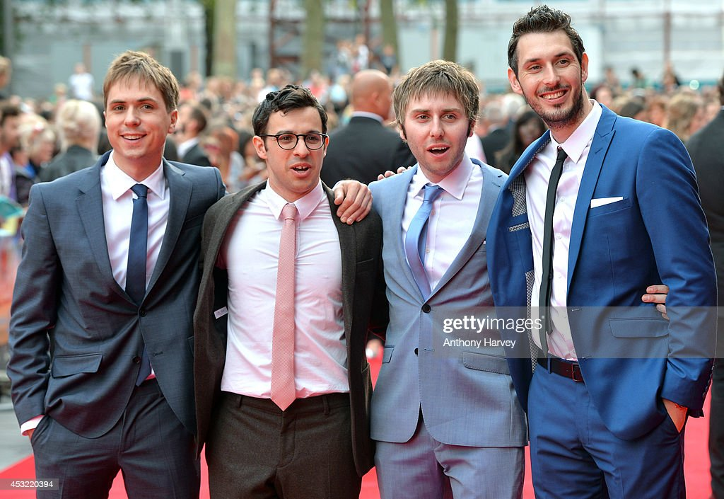 Joe Thomas, Simon Bird, <a gi-track='captionPersonalityLinkClicked' href=/galleries/search?phrase=James+Buckley+-+Actor&family=editorial&specificpeople=7443649 ng-click='$event.stopPropagation()'>James Buckley</a> and <a gi-track='captionPersonalityLinkClicked' href=/galleries/search?phrase=Blake+Harrison&family=editorial&specificpeople=5800049 ng-click='$event.stopPropagation()'>Blake Harrison</a> attens the World Premiere of 'The Inbetweeners 2' at Vue West End on August 5, 2014 in London, England.