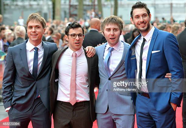 Joe Thomas Simon Bird James Buckley and Blake Harrison attens the World Premiere of 'The Inbetweeners 2' at Vue West End on August 5 2014 in London...