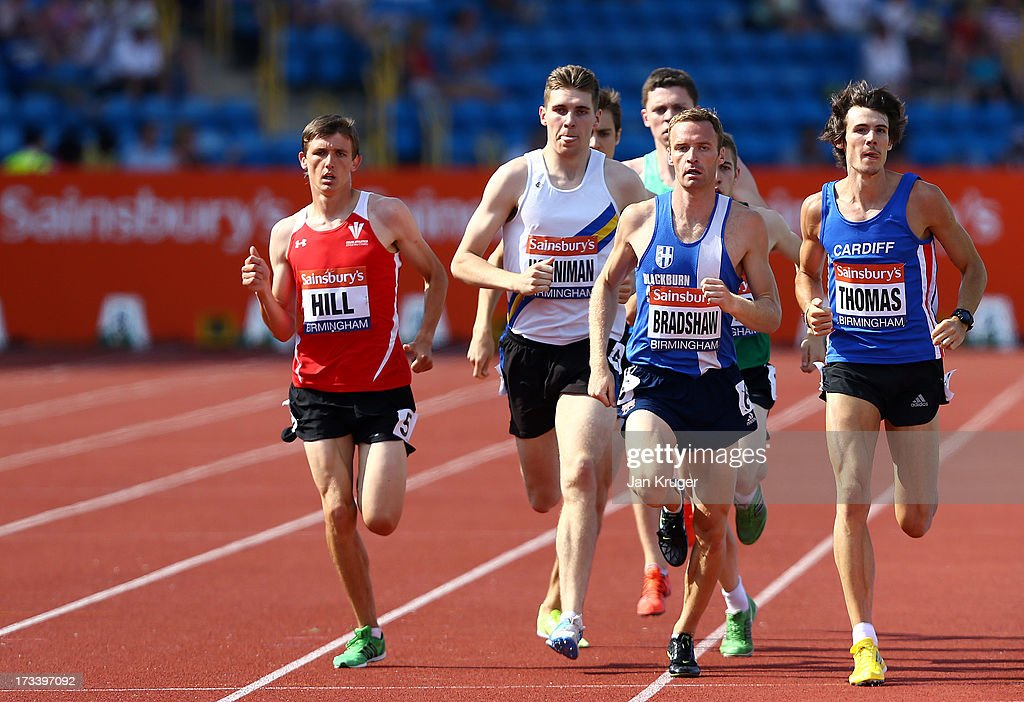 Joe Thomas (R) wins his 800m heat during day two of the Sainsbury's British Championships, British Athletics World Trials and UK & England Championships at Alexander Palace on July 13, 2013 in Birmingham, England.