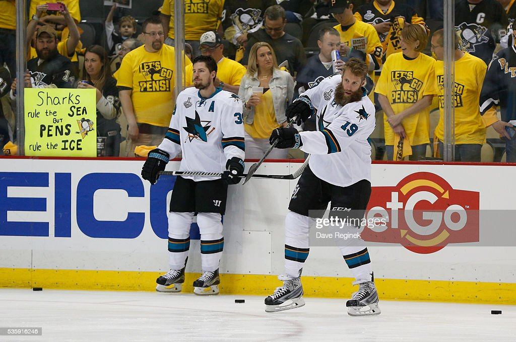 <a gi-track='captionPersonalityLinkClicked' href=/galleries/search?phrase=Joe+Thornton&family=editorial&specificpeople=201829 ng-click='$event.stopPropagation()'>Joe Thornton</a> #19 and <a gi-track='captionPersonalityLinkClicked' href=/galleries/search?phrase=Logan+Couture&family=editorial&specificpeople=809700 ng-click='$event.stopPropagation()'>Logan Couture</a> #39 of the San Jose Sharks warm up prior to Game One of the 2016 NHL Stanley Cup Final against the Pittsburgh Penguins at Consol Energy Center on May 30, 2016 in Pittsburgh, Pennsylvania.