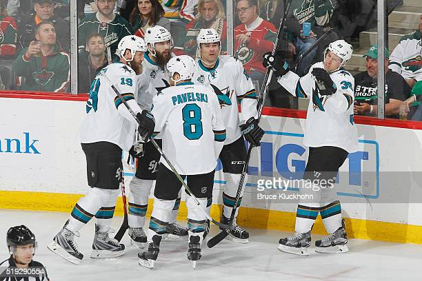 Joe Thornton Brent Burns Joe Pavelski Patrick Marleau and Logan Couture of the San Jose Sharks celebrate after scoring a goal against the Minnesota...