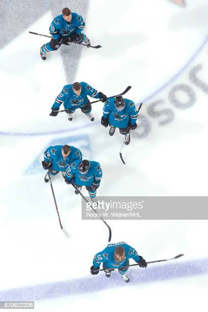 Joe Thornton Mikkel Boedker Michael Haley Dylan DeMelo Marcus Sorensen and Chris Tierney of the San Jose Sharks warm up prior to the game against the...