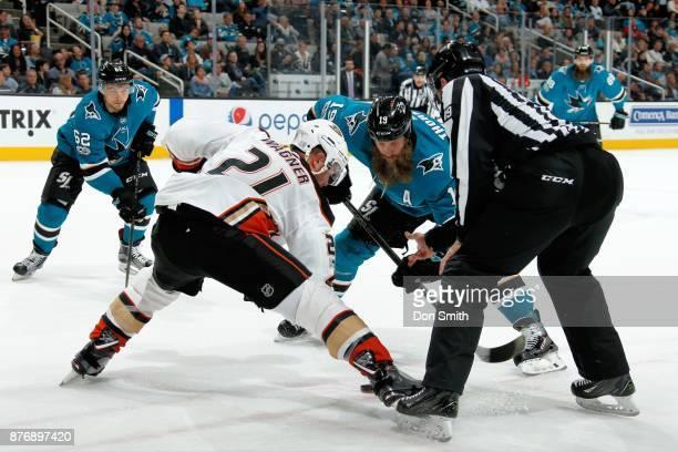 Joe Thornton of the San Jose Sharks and Chris Wagner of the Anaheim Ducks faceoff at SAP Center on November 20 2017 in San Jose California