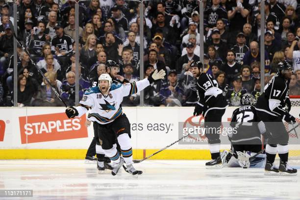 Joe Thornton of the San Jose Sharks celebrates after scoring the game winning goal against the Los Angeles Kings in game six of the Western...