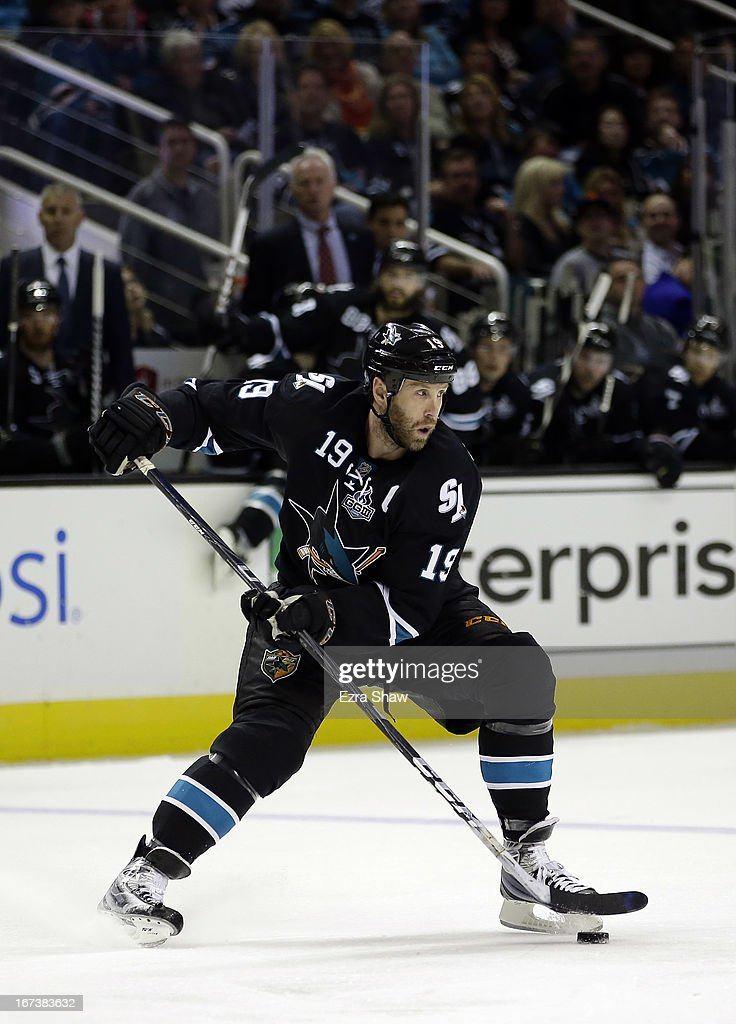 <a gi-track='captionPersonalityLinkClicked' href=/galleries/search?phrase=Joe+Thornton&family=editorial&specificpeople=201829 ng-click='$event.stopPropagation()'>Joe Thornton</a> #19 of the San Jose Sharks in action against the Minnesota Wild at HP Pavilion on April 18, 2013 in San Jose, California.