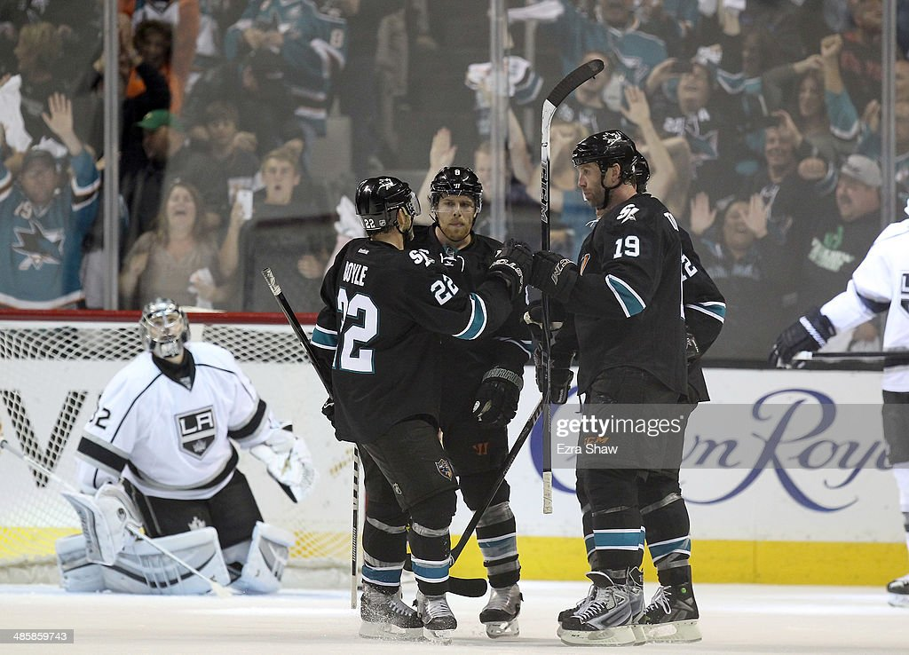 Joe Thornton #19 of the San Jose Sharks is congratulated by teammates after he scored on Jonathan Quick #32 of the Los Angeles Kings in the third period in Game Two of the First Round of the 2014 NHL Stanley Cup Playoffs at SAP Center on April 20, 2014 in San Jose, California.