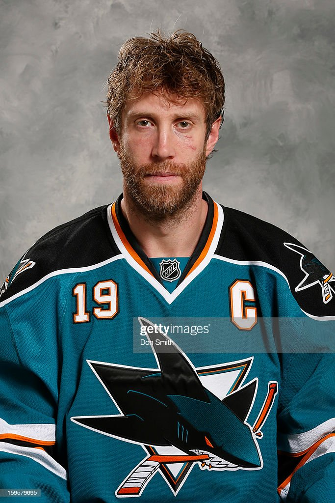 Joe Thornton #19 of the San Jose Sharks poses for his official headshot for the 2012-13 season on January 13, 2013 at Sharks Ice in San Jose, California.