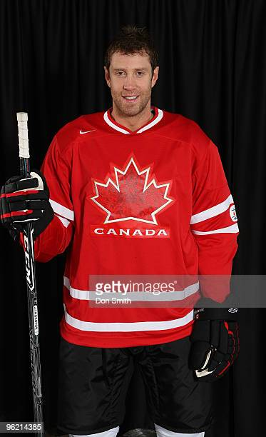 Joe Thornton of the San Jose Sharks poses for his Olympic Photo Shoot in his team Canada jersey for the 2010 Olympics