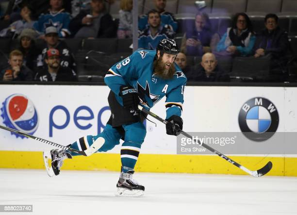 Joe Thornton of the San Jose Sharks scores a goal against the Carolina Hurricanes at SAP Center on December 7 2017 in San Jose California