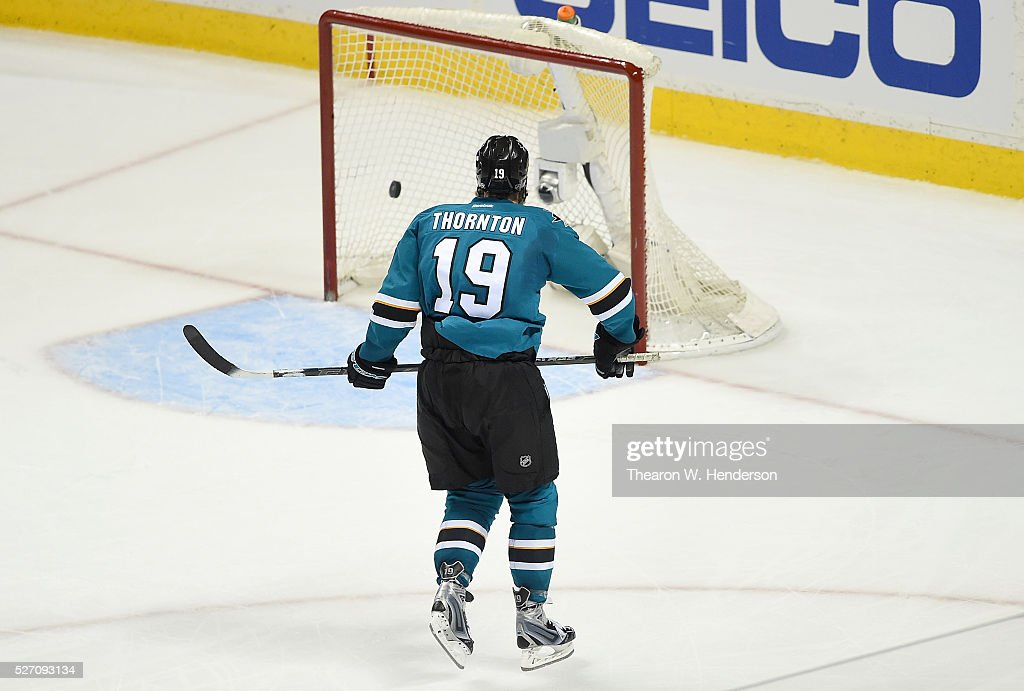 Joe Thornton #19 of the San Jose Sharks scores an empty-net goal against the Nashville Predators in Game Two of the Western Conference Second Round during the 2016 NHL Stanley Cup Playoffs. The Sharks won the game 3-2. at SAP Center on May 1, 2016 in San Jose, California.