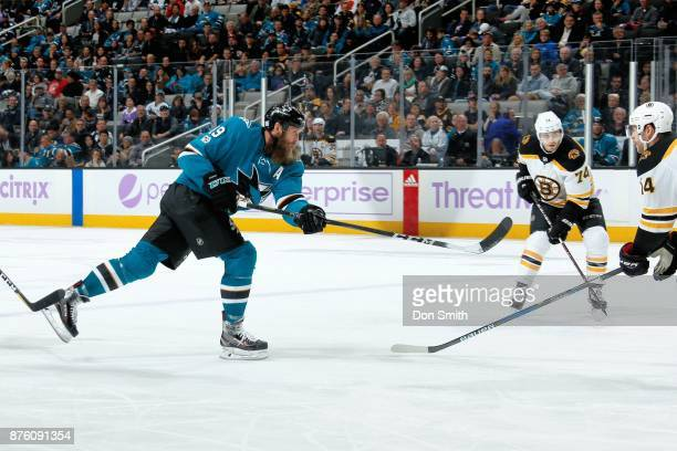 Joe Thornton of the San Jose Sharks shoots the puck during a NHL game against the Boston Bruins at SAP Center on November 18 2017 in San Jose...