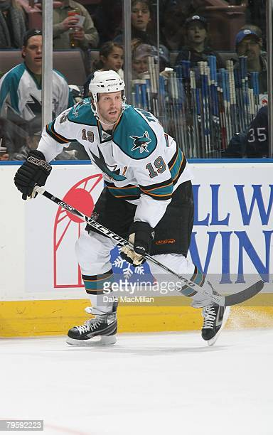 Joe Thornton of the San Jose Sharks skates against the Edmonton Oilers during their NHL game on January 29 2008 in Edmonton Alberta Canada