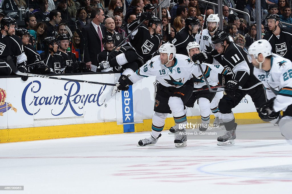 <a gi-track='captionPersonalityLinkClicked' href=/galleries/search?phrase=Joe+Thornton&family=editorial&specificpeople=201829 ng-click='$event.stopPropagation()'>Joe Thornton</a> #19 of the San Jose Sharks skates against the Los Angeles Kings in Game Three of the First Round of the 2014 Stanley Cup Playoffs at Staples Center on April 22, 2014 in Los Angeles, California.