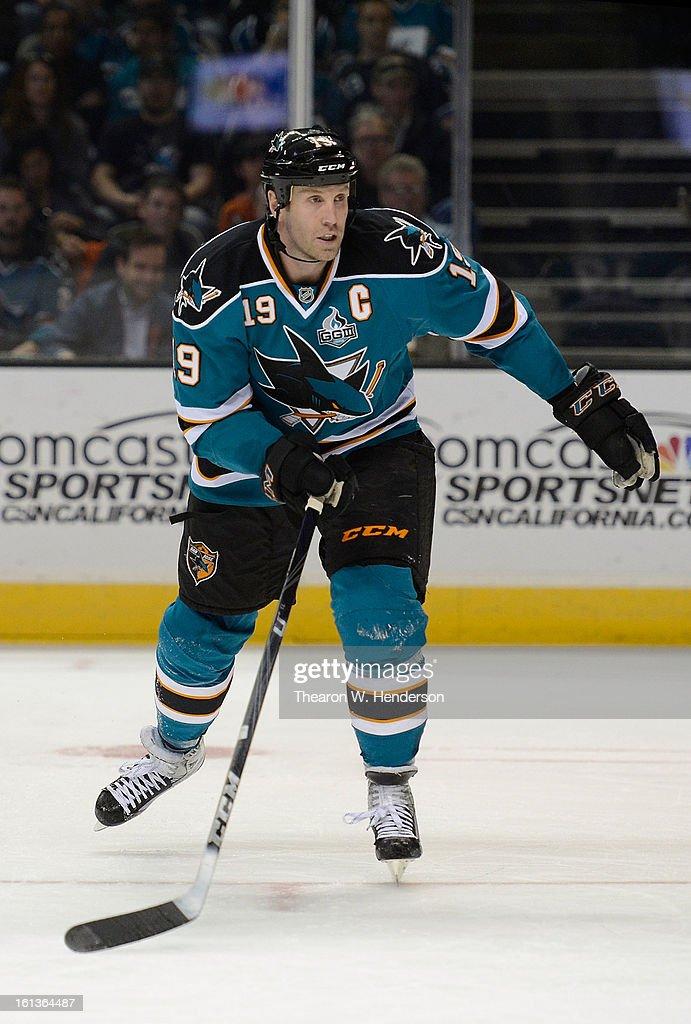 Joe Thornton #19 of the San Jose Sharks skates against the Phoenix Coyotes at HP Pavilion on February 9, 2013 in San Jose, California.