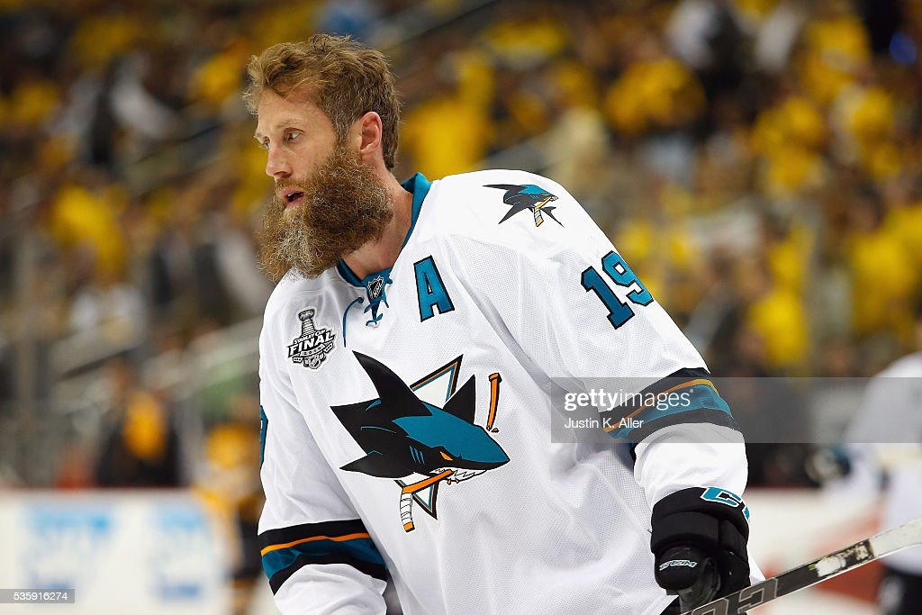 <a gi-track='captionPersonalityLinkClicked' href=/galleries/search?phrase=Joe+Thornton&family=editorial&specificpeople=201829 ng-click='$event.stopPropagation()'>Joe Thornton</a> #19 of the San Jose Sharks skates in warm-ups prior to Game One of the 2016 NHL Stanley Cup Final against the Pittsburgh Penguins at Consol Energy Center on May 30, 2016 in Pittsburgh, Pennsylvania.