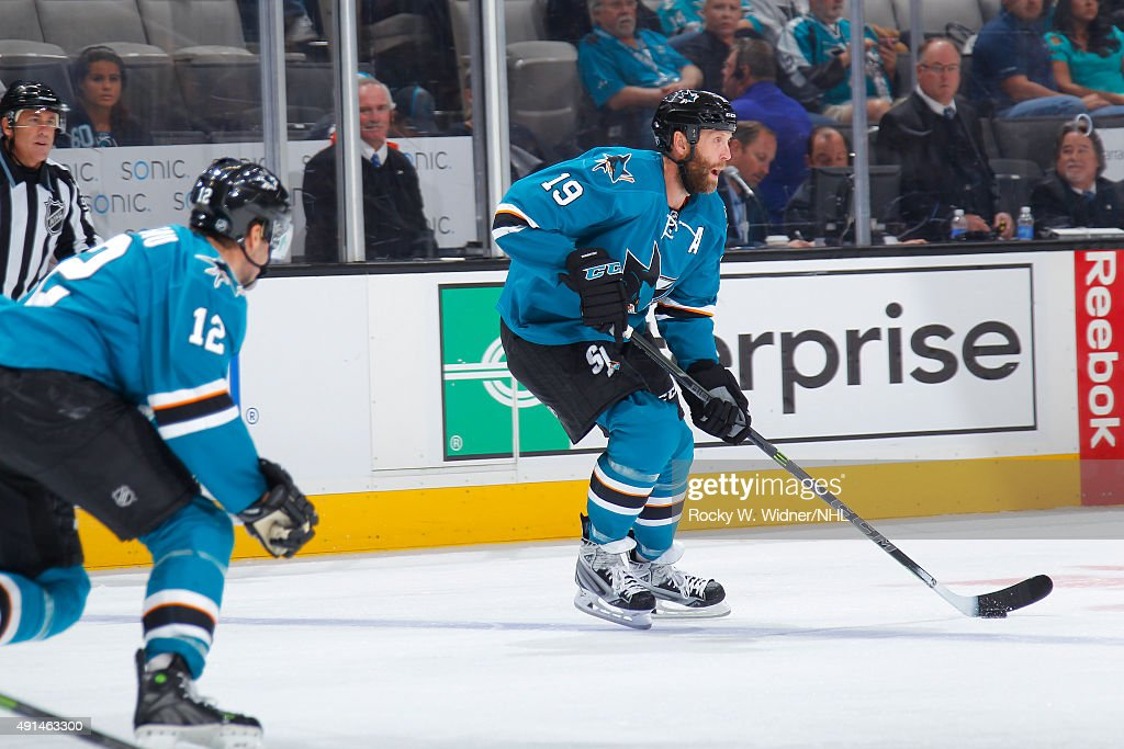 Joe Thornton #19 of the San Jose Sharks skates with control of the puck against the Vancouver Canucks at SAP Center on September 29, 2015 in San Jose, California.