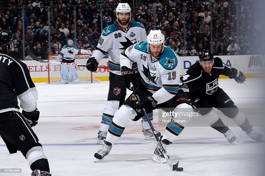 <a gi-track='captionPersonalityLinkClicked' href=/galleries/search?phrase=Joe+Thornton&family=editorial&specificpeople=201829 ng-click='$event.stopPropagation()'>Joe Thornton</a> #19 of the San Jose Sharks skates with the puck against the Los Angeles Kings at Staples Center on April 27, 2013 in Los Angeles, California.