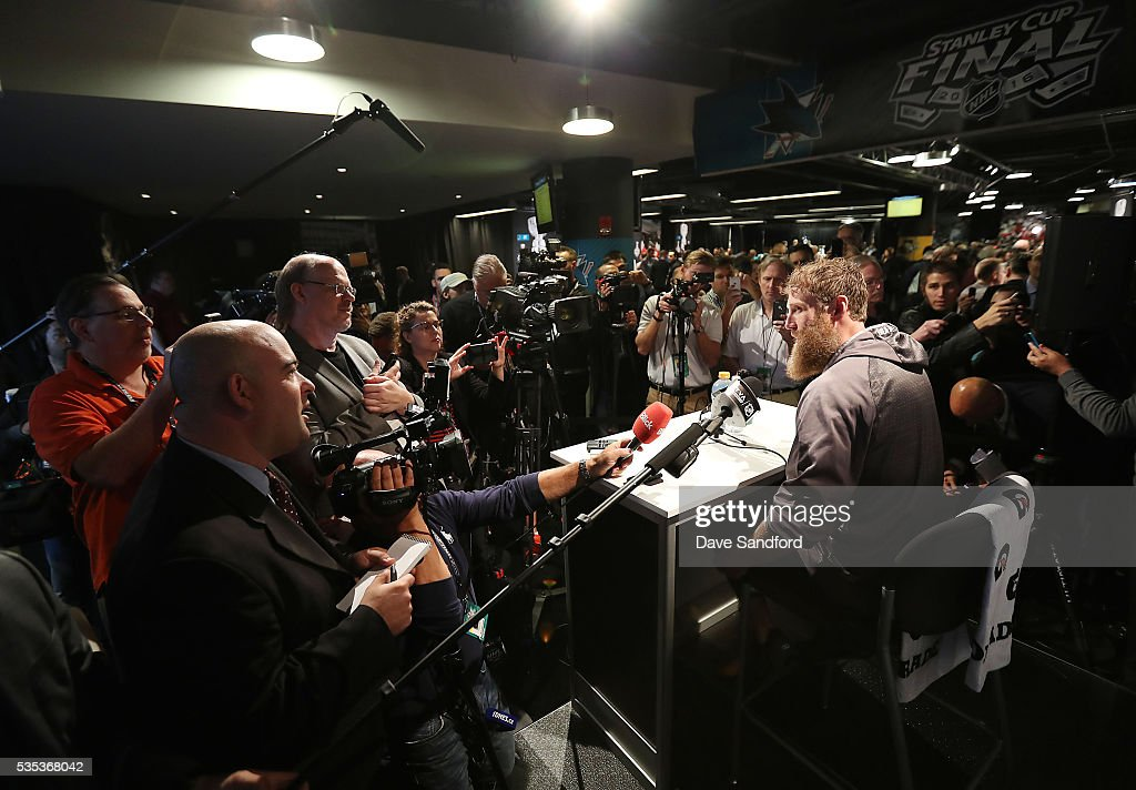 <a gi-track='captionPersonalityLinkClicked' href=/galleries/search?phrase=Joe+Thornton&family=editorial&specificpeople=201829 ng-click='$event.stopPropagation()'>Joe Thornton</a> #19 of the San Jose Sharks speaks during Media Day prior to the 2016 NHL Stanley Cup Final between the Pittsburgh Penguins and San Jose Sharks May 29, 2016 at Consol Energy Center in Pittsburgh, Pennsylvania, United States.
