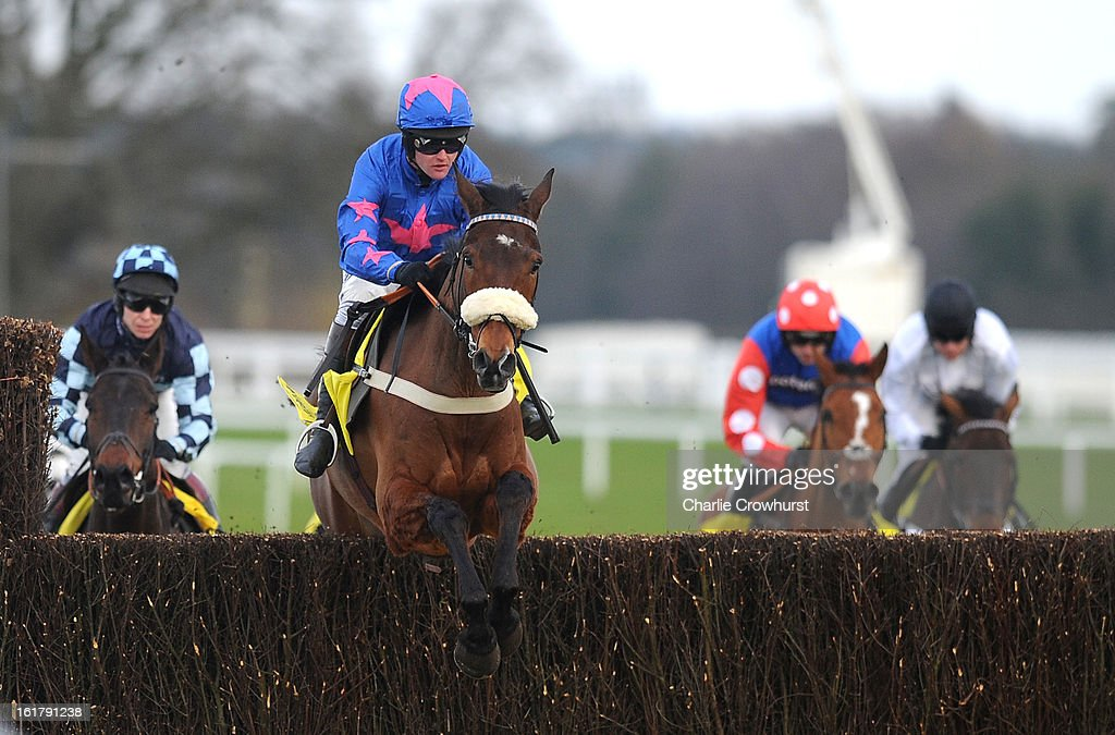 Joe Tizzard clears a jump first time round on Cue Card in The Betfair Ascot Steeple Chase at Ascot racecourse on February 16, 2013 in Ascot, England.