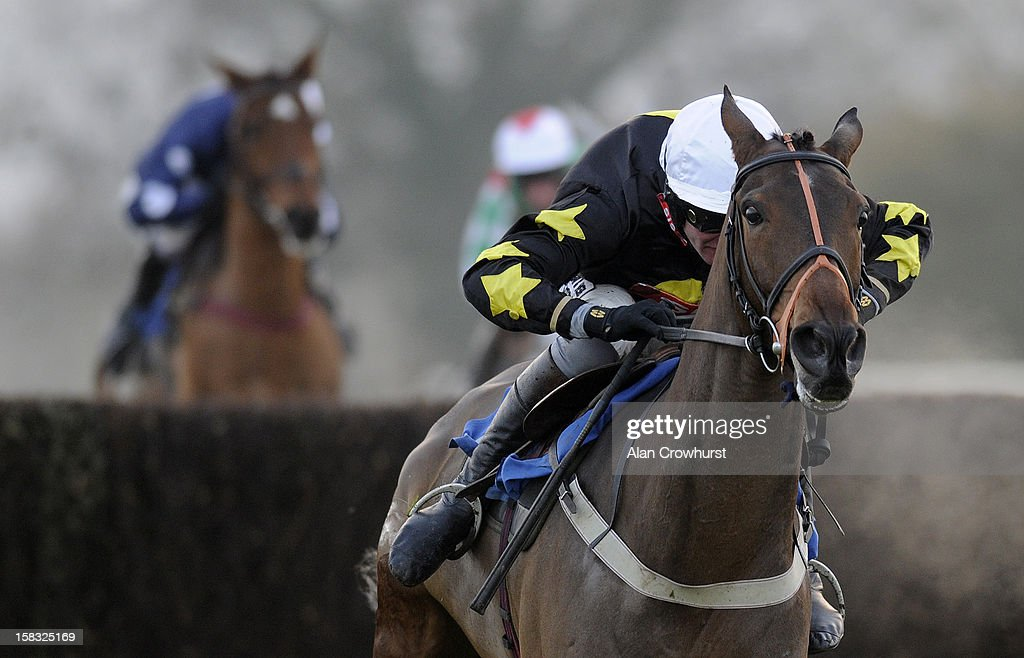 Joe Tizzrad riding General Zhukov clear the last to win The Stables Business Park Clients Day Out Handicap Steeple Chase at Taunton racecourse on December 13, 2012 in Taunton, England.