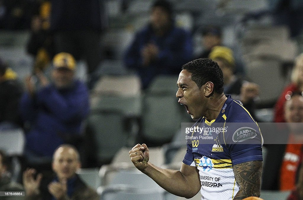 Joe Tomane of the Brumbies celebrates afters scoring a try during the round 11 Super Rugby match between the Brumbies and the Force at Canberra Stadium on April 27, 2013 in Canberra, Australia.