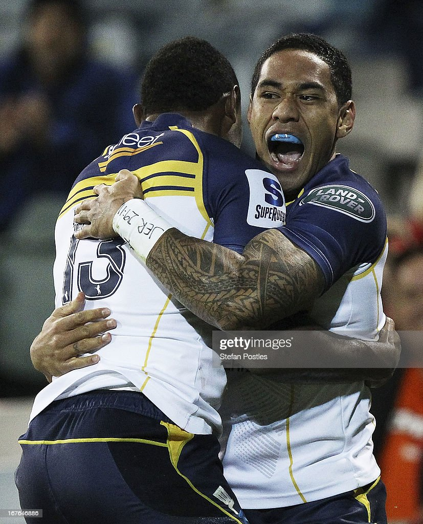 Joe Tomane of the Brumbies celebrates with Tevita Kuridrani afters scoring a try during the round 11 Super Rugby match between the Brumbies and the Force at Canberra Stadium on April 27, 2013 in Canberra, Australia.