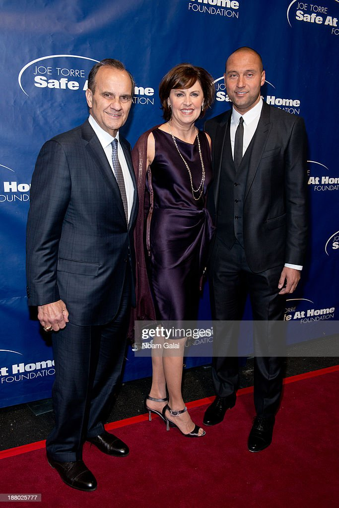 <a gi-track='captionPersonalityLinkClicked' href=/galleries/search?phrase=Joe+Torre&family=editorial&specificpeople=204583 ng-click='$event.stopPropagation()'>Joe Torre</a>, Alice Wolterman and <a gi-track='captionPersonalityLinkClicked' href=/galleries/search?phrase=Derek+Jeter&family=editorial&specificpeople=167125 ng-click='$event.stopPropagation()'>Derek Jeter</a> attend the 11th Anniversary <a gi-track='captionPersonalityLinkClicked' href=/galleries/search?phrase=Joe+Torre&family=editorial&specificpeople=204583 ng-click='$event.stopPropagation()'>Joe Torre</a> Safe At Home Foundation Gala at Pier Sixty at Chelsea Piers on November 14, 2013 in New York City.