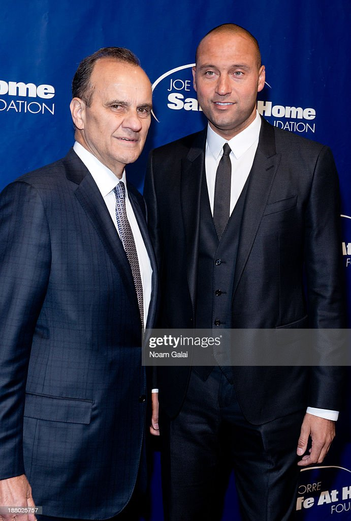 <a gi-track='captionPersonalityLinkClicked' href=/galleries/search?phrase=Joe+Torre&family=editorial&specificpeople=204583 ng-click='$event.stopPropagation()'>Joe Torre</a> and <a gi-track='captionPersonalityLinkClicked' href=/galleries/search?phrase=Derek+Jeter&family=editorial&specificpeople=167125 ng-click='$event.stopPropagation()'>Derek Jeter</a> attend the 11th Anniversary <a gi-track='captionPersonalityLinkClicked' href=/galleries/search?phrase=Joe+Torre&family=editorial&specificpeople=204583 ng-click='$event.stopPropagation()'>Joe Torre</a> Safe At Home Foundation Gala at Pier Sixty at Chelsea Piers on November 14, 2013 in New York City.